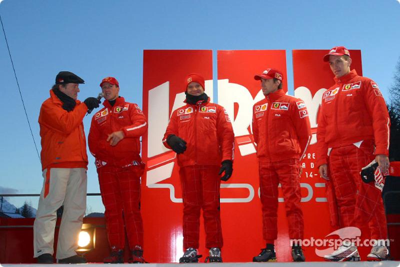 Michael Schumacher, Rubens Barrichello, Luca Badoer and Luciano Burti