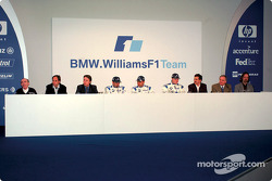 Press conference: Frank Williams, Gerhard Berger, Sam Michael, Marc Gene, Juan Pablo Montoya, Ralf Schumacher, Mario Theissen, Patrick Head and Gavin Fisher