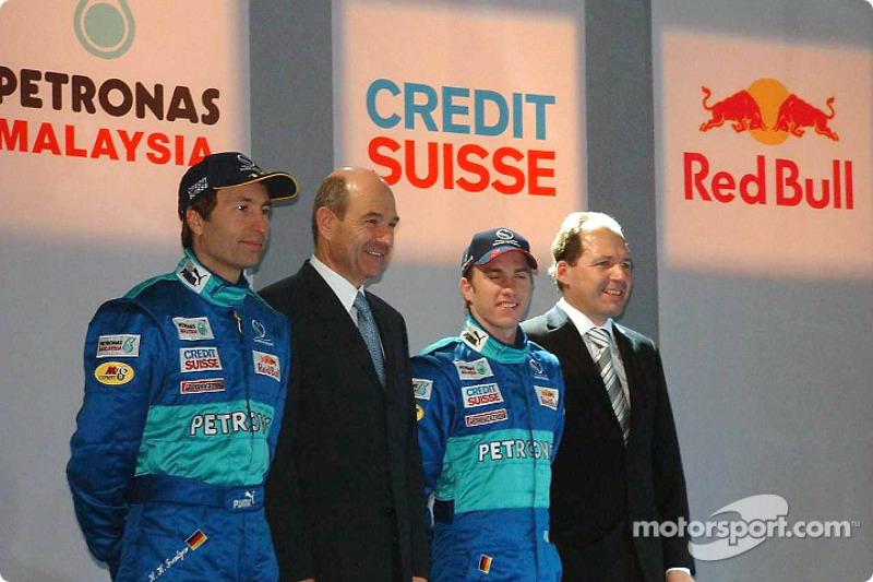 Heinz-Harald Frentzen, Peter Sauber and Nick Heidfeld on stage