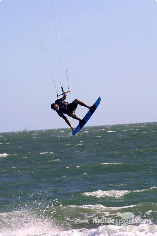Flying man on St. Kilda Beach
