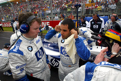 Sam Michael and Juan Pablo Montoya on the starting grid