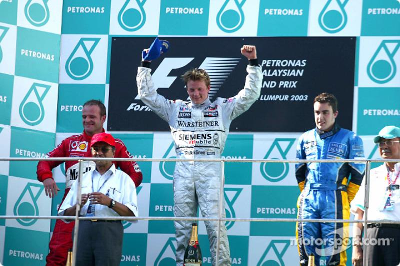 2003: 1. Kimi Räikkönen, 2. Rubens Barrichello, 3. Fernando Alonso