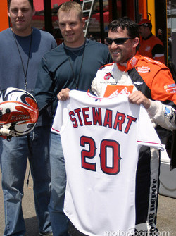 Tony Stewart and his own Anaheim Angels baseball shirt
