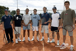 Charity tennis tournament at the Sanchez-Casal Academy in Barcelona: Nick Heidfeld, Juan Pablo Montoya, Antonio Pizzonia, Giancarlo Fisichella, Heinz-Harald Frentzen, Marc Gene and Mark Webber