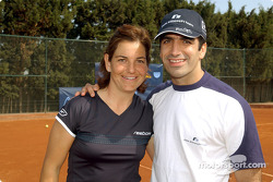 Charity tennis tournament at the Sanchez-Casal Academy in Barcelona: Arantxa Sanchez and Marc Gene