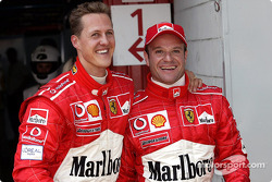 The first row: Michael Schumacher and Rubens Barrichello