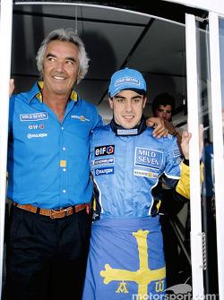 Fernando Alonso and Flavio Briatore celebrate podium finish