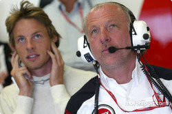 Jenson Button and David Richards watch qualifying