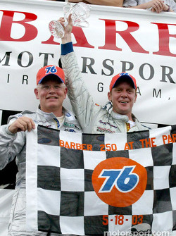 Forest Barber and Terry Borcheller celebrate their first Rolex Series win in Victory Lane at the Barber 250 at The Park