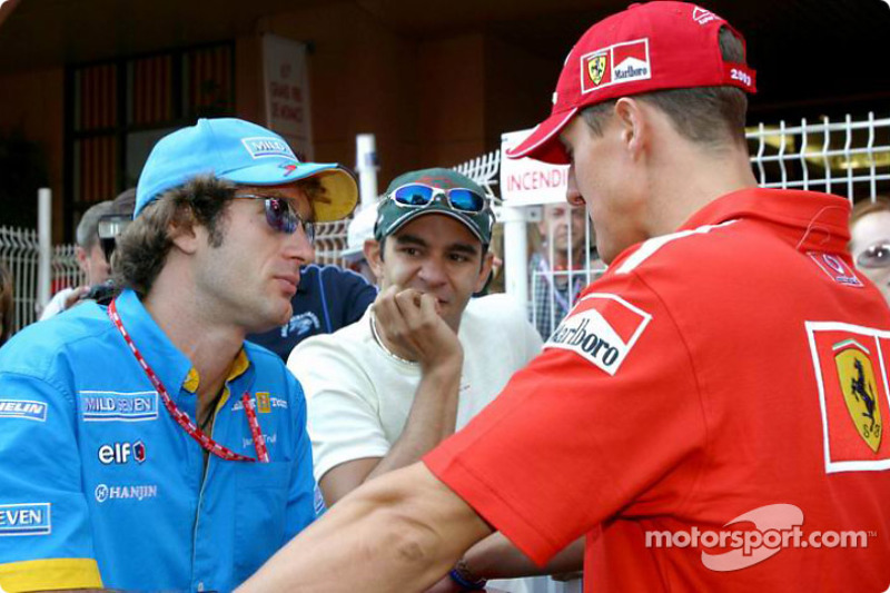Jarno Trulli, Antonio Pizzonia and Michael Schumacher discuss