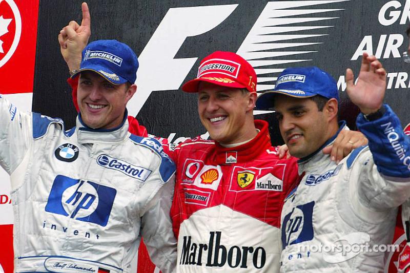 2003 - 1. Michael Schumacher, 2. Ralf Schumacher, 3. Juan Pablo Montoya
