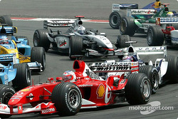 The start: Rubens Barrichello and Juan Pablo Montoya