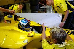 New F3000 champion Bjorn Wirdheim has a seat fitting in the Jordan