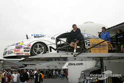A Pro Stock car being unloaded