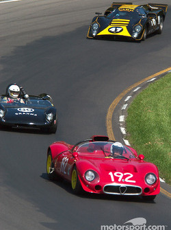 #192 1967 Alfa Romeo 33/2, owned by Joe Nastasi leads #69 Brahma 23, owned by George Nelson and #47 1969 Lola T70 Mk IIIb, owned by Kenne Bristol