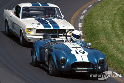 #19 1964 AC Cobra USRRC, owned by Frank Gerber leads 1965 Shelby GT350, owned by Bob Aliberto