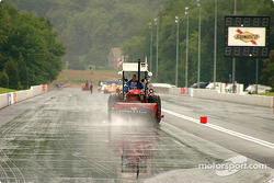 NHRA on several occasions tried to dry the track in the hope of having a race