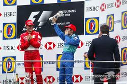 Podio: ganador de la carrera Michael Schumacher y tercer lugar Heinz-Harald Frentzen