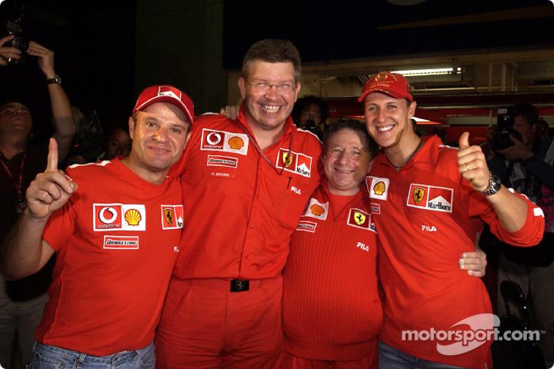 Rubens Barrichello, Ross Brawn, Jean Todt y Michael Schumacher