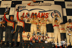 LMP 900 podium: class and overall winners Johnny Herbert and JJ Lehto, with Olivier Beretta, David Saelens, Max Papis, and Frank Biela, Marco Werner