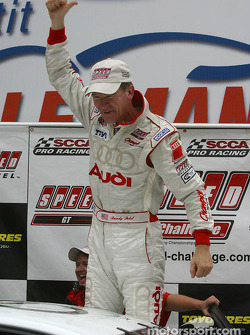 Race winner Randy Pobst celebrates