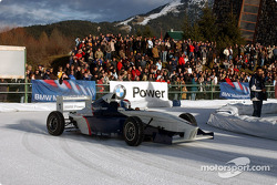 Marc Gene drives a Formula BMW on the ice track