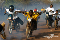 Moped race in the streets of Bobo Dioulasso
