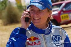 Jutta Kleinschmidt celebrates stage win