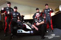 Gianmaria Bruni, Bas Leinders, Zsolt Baumgartner, Tiago Monteiro and Paul Stoddart with the new Minardi PS04B
