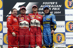 Podium: race winner Michael Schumacher with Jean Todt, Rubens Barrichello and Fernando Alonso