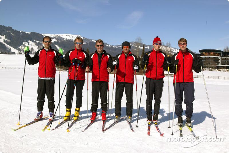 Audi DTM drivers Emanuele Pirro, Frank Biela, Tom Kristensen, Christian Abt, Mattias Ekström and Ma