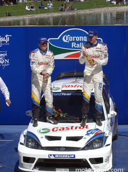 Podium: winners Markko Martin and Michael Park celebrate