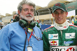 Movie director George Lucas and Christian Klien on the starting grid