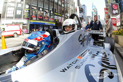 Ryan Hunter-Reay takes a guest for a ride in the two-seater Champ Car