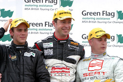 Podium: race winner Matt Neal with Robert Huff and Tom Chilton