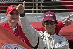 Bruno Junqueira celebrates pole position