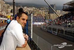 Juan Pablo Montoya in the reconfigured pitlane