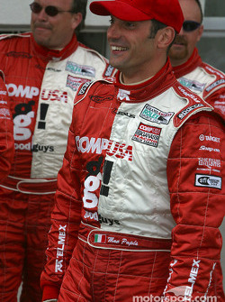 Max Papis waits for Scott Pruett