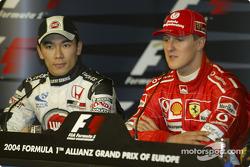 Press conference: pole winner Michael Schumacher with Takuma Sato