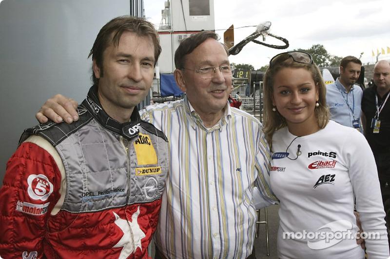 Heinz-Harald Frentzen with his dad and sister Nicole-Nadine