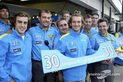 Jarno Trulli celebrates his 30th birthday