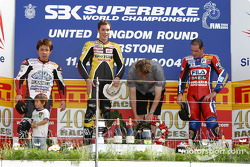 Podium: race winner Chris Vermeulen with Noriyuki Haga and Regis Laconi