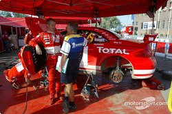 Harri Rovanpera in Marlboro Peugeot Total team service area