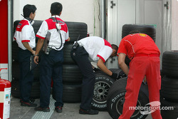 Bridgestone engineers check tires
