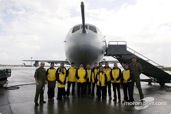 Members, Jordan Grand Prix Team visit R.A.F Brize Norton to see how they refuel their aircraft