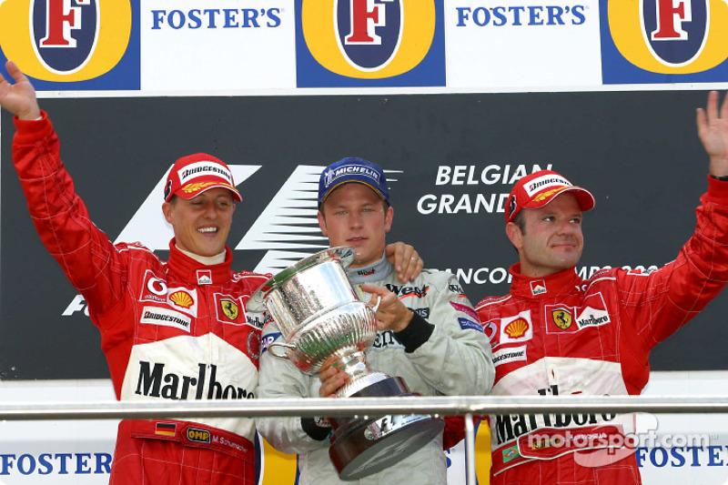 2004: 1. Kimi Raikkonen, 2. Michael Schumacher, 3. Rubens Barrichello