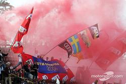 Brno fans celebrates Mattias Ekström's 2004 title