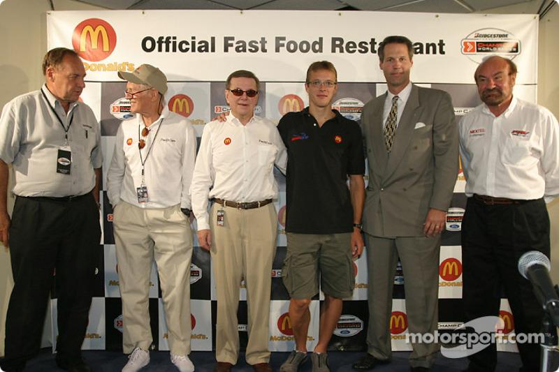 McDonald's press conference: Dick Eidswick, Paul Newman, Carl Haas, Sébastien Bourdais, John Lewicki and Kevin Kalkhoven
