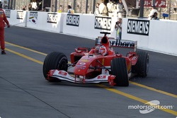 Rubens Barrichello out of the race after his accident with David Coulthard