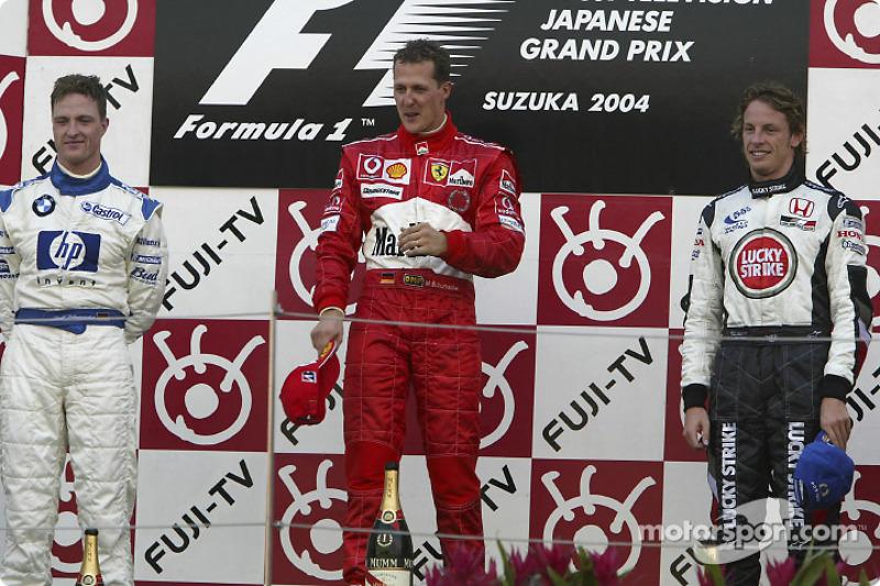 2004: 1. Михаэль Шумахер, 2. Ральф Шумахер, 3. Дженсон Баттон
